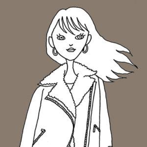 ジャケットを着た女の子のイラスト